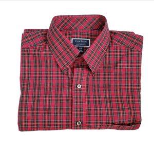 Club Room Regular Fit Red Plaid Button Down Shirt